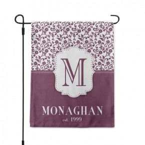 Embroidery Style Monogram Family Name Garden Flag