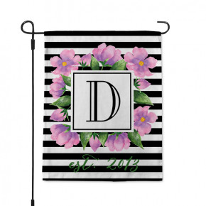 Watercolor Floral Stripe Monogram Garden Flag