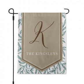 Sophisticated Vines Monogram Custom Garden Flag