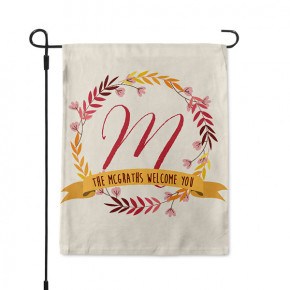 Wildflower Wreath Monogram Custom Garden Flag