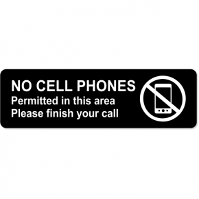 "No Cell Phones Permitted Engraved Sign | 3"" x 10"""
