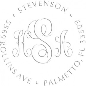 Fancy Monogram Round Return Address Embosser