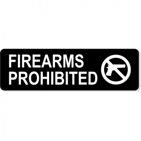 "Firearms Prohibited Engraved Sign | 3"" x 10"""