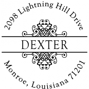 Dexter Round Deco Address Stamp