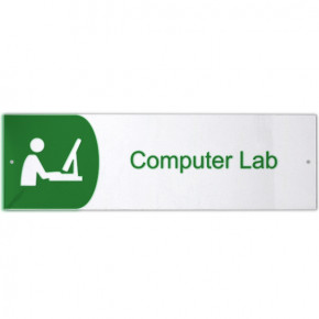 "Computer Lab Icon Acrylic Sign - 3"" x 10"""