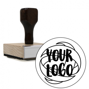 Square & Round Logo Stamp | XL Wood Handle Hand Stamp