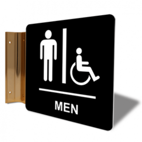 "Men's Handicap Restroom Projection Sign | 6"" x 6"""