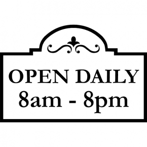"Open Daily Business Hours Die Cut Decal | 8"" x 12"""