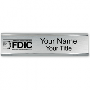 """Engraved FDIC Name Plate with Aluminum Wall Holder 