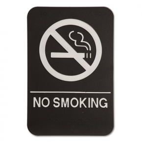 Black No Smoking Sign w/ Braille