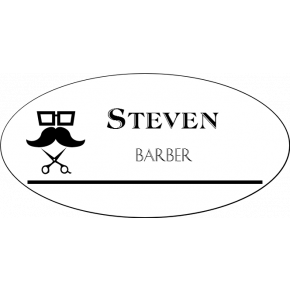 Barber Shop 2 Line Oval Hair Salon Name Tag