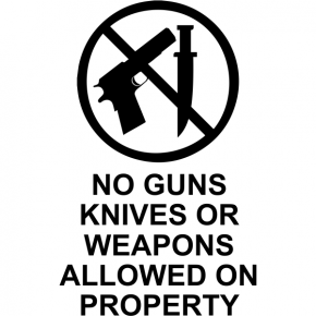 "No Guns Or Knives Die Cut Vinyl Decal | 6"" x 4"""