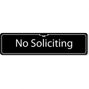 """Engraved Plastic No Soliciting Deco Border Sign 