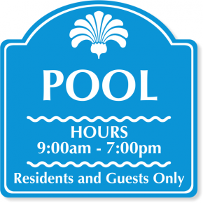 "Engraved Custom Pool Hours Sign | 12"" x 12"""