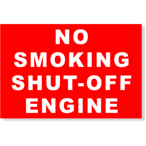 "Plastic No Smoking Shut-off Engine Sign | 4"" x 6"""