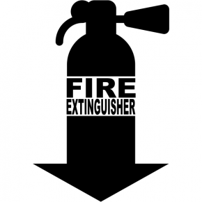"Fire Extinguisher Down Arrrow Cut Vinyl Decal | 7"" x 5"""