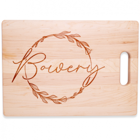 Floral Wreath Personalized Large Horizontal Cutting Board