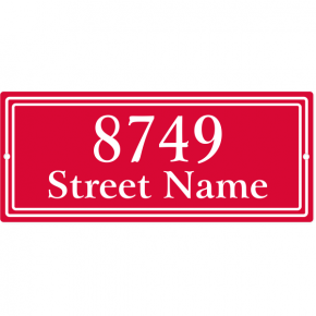 "Double Border Home Address Sign w/ Street Name | 5"" x 12"""