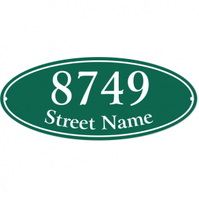 "Oval Border Home Address Sign w/ Street Name | 5"" x 12"""