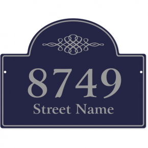 "Crest Border Home Address Sign w/ Street Name | 11"" x 15"""