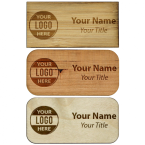 "Engraved Wood Name Tag - 1.5"" x 3"""