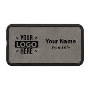 "Framed Leatherette 1.5"" x 3"" Rectangle Name Tag"