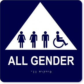 All Gender Triangle with Symbols - ADA Tactile Sign