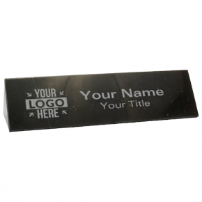 """Triangle Top Engraved Black Marble Desk Name Plate   2"""" x 10"""""""