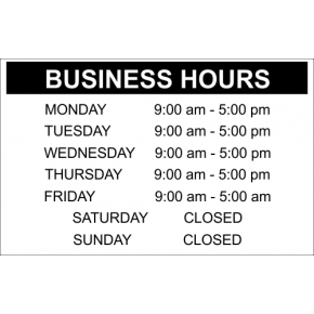 "Business Hours - 10"" x 16"" Engraved Sign"
