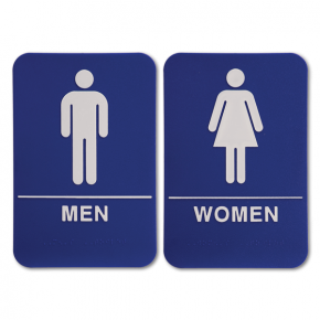 "ADA Braille Men's & Women's Restroom Sign Set 6"" x 9"" Blue"