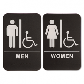 "ADA Braille Men's & Women's Handicap Restroom Sign Set 6"" x 9"" Black"