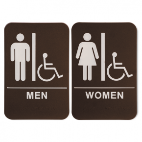 "ADA Braille Men's & Women's Handicap Restroom Sign Set 6"" x 9"" Brown"
