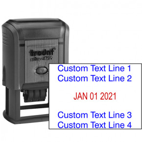 Custom Text Date Stamp, 2 Top Lines 2 Bottom