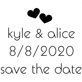 Save The Date Wedding rubber stamp hearts