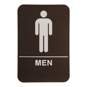 Brown Men's ADA Braille Restroom Sign