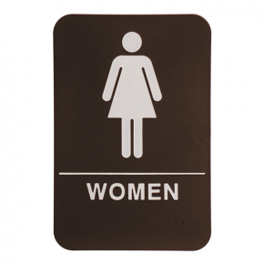 Brown Women's ADA Braille Restroom Sign