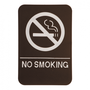Brown No Smoking Sign w/ Braille