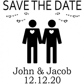 Gay Men Icon Save the Date Stamp