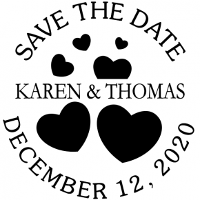 Custom Save the Date Hearts Stamp