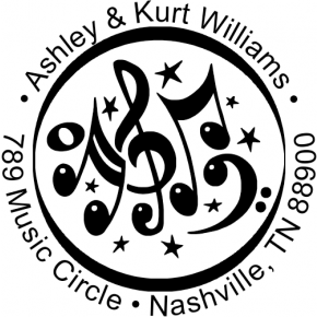 Music Circle Round Address Stamp