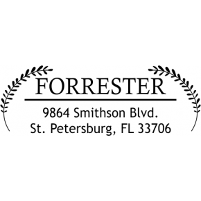 Forrester Double Leaf Address Stamp