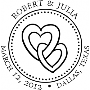 Linked Hearts Round Wedding Stamp