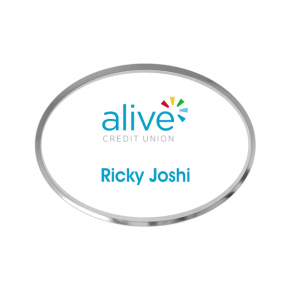 Alive Credit Union - Executive Silver Oval Name Tag (1 Line)