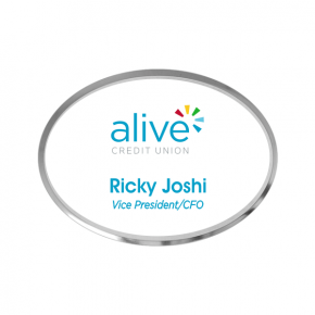 Alive Credit Union - Executive Silver Oval Name Tag (2 Line)