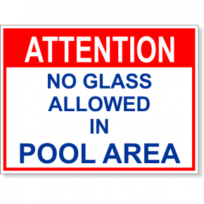 "Attention No Glass Allowed Full Color Sign | 6"" x 8"""