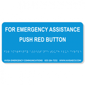 Avisa Emergency Communications - Assistance-Red Button -  Braille Sign