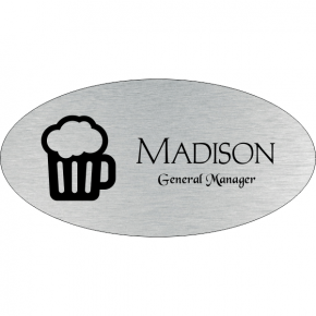 Beer Mug Oval Bar & Wine Name Tag