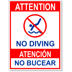 "Bilingual Attention No Diving Full Color Sign | 8"" x 6"""