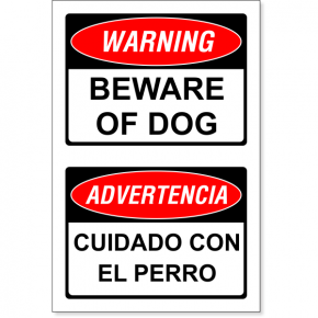 "Bilingual Beware of Dog Decal | 6"" x 4"""