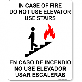 "Bilingual In Case of Fire Do Not Use Elevator Full Color Sign | 10"" x 8"""